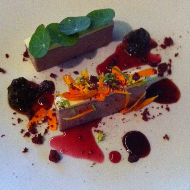 Le Parfait Duck liver parfait, whipped orange butter, tamarillo chutney,  freeze dried cherries, BG blackberry balsamic vinegar